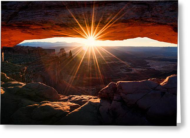 Light Greeting Cards - Mesa Glow Greeting Card by Chad Dutson