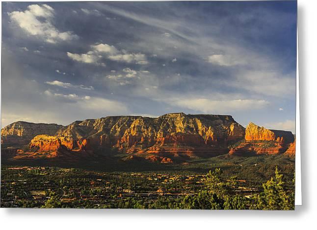 Arizona Sedona Greeting Cards - Mesa Glow Greeting Card by Mike Lang