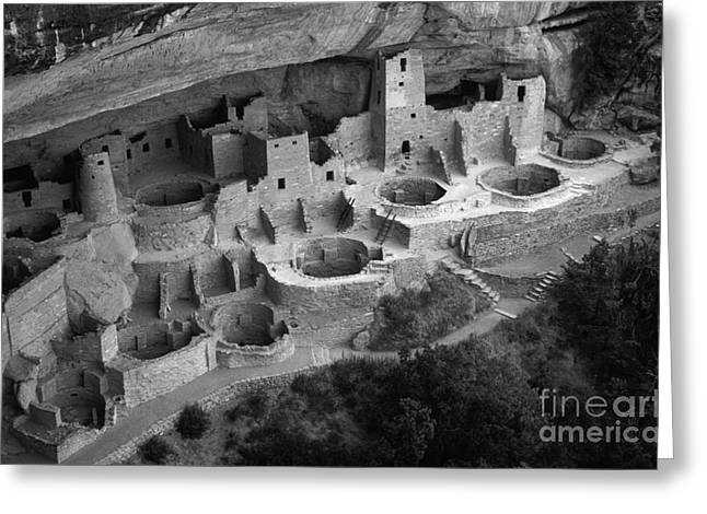 Cliff Dwellers Greeting Cards - Mesa Verde Monochrome Greeting Card by Bob Christopher