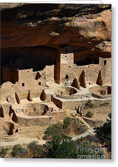 Mesa Verde Greeting Cards - Mesa Verde National Park Cliff Palace Anasazi Ruin Poster Edges Greeting Card by Shawn O