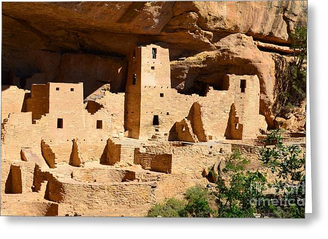 Mesa Verde Greeting Cards - Mesa Verde National Park Cliff Palace Pueblo Anasazi Ruins Greeting Card by Shawn O