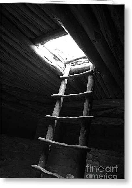 Mesa Verde Greeting Cards - Mesa Verde National Park Kiva Ladder Black and White Greeting Card by Shawn O