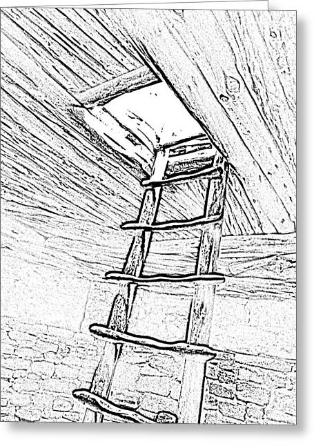 Photocopy Greeting Cards - Mesa Verde National Park Spruce Tree house Kiva Ladder Black and White Line Art Greeting Card by Shawn O