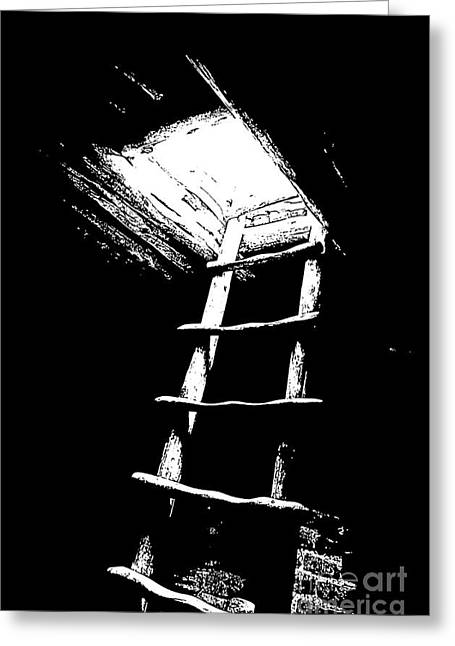 Mesa Verde Greeting Cards - Mesa Verde National Park Spruce Tree house Kiva Ladder Black and White Stamp Greeting Card by Shawn O