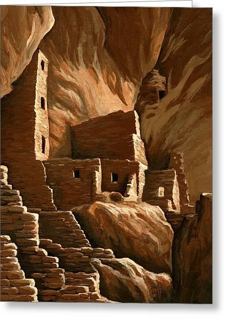 Hallmark Greeting Cards - Mesa Verde tower house Greeting Card by Darla Hallmark