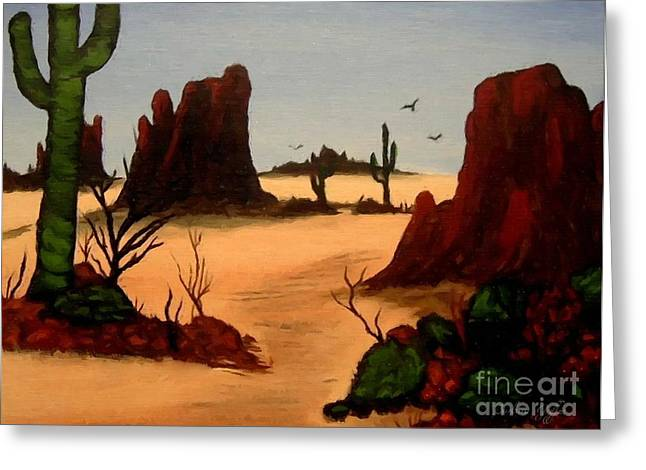 Hot Nurses Greeting Cards - Mesas Buttes and Cactus Greeting Card by Barbara Griffin