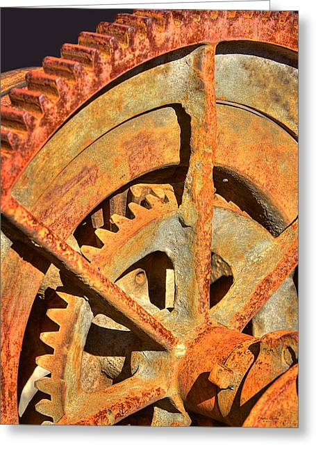 Meshed Greeting Cards - Meshing Gears Greeting Card by Phyllis Denton