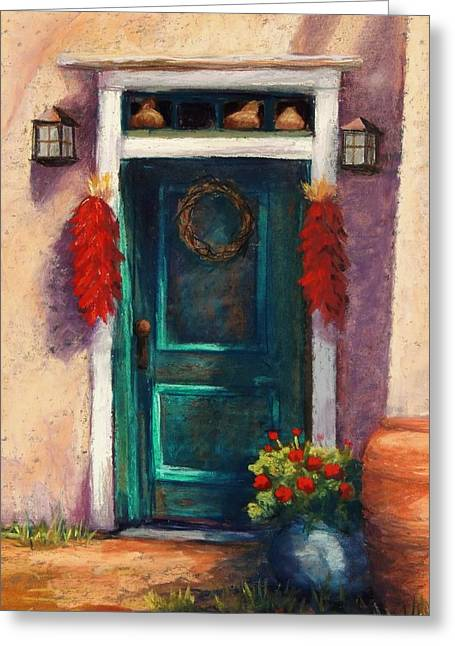 Old Door Pastels Greeting Cards - Mesilla Door Greeting Card by Candy Mayer