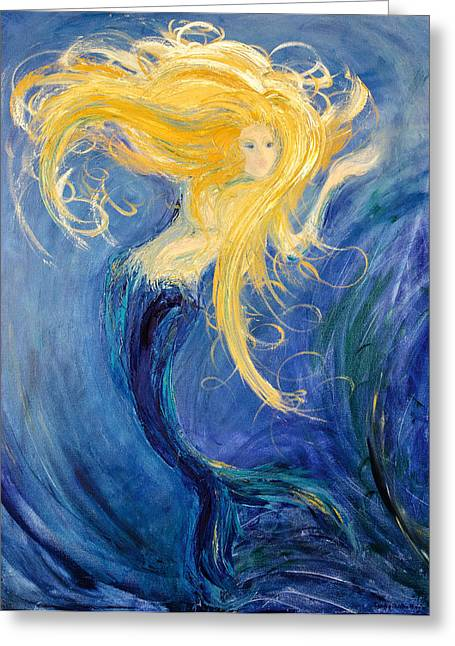 Mermaid Poster Greeting Cards - Mesmeria Mermaid Greeting Card by Sandra Martin Hudgins