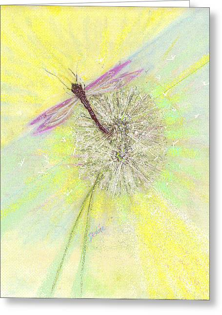 Dragonflies Pastels Greeting Cards - Mesmerism Greeting Card by Desline Vitto