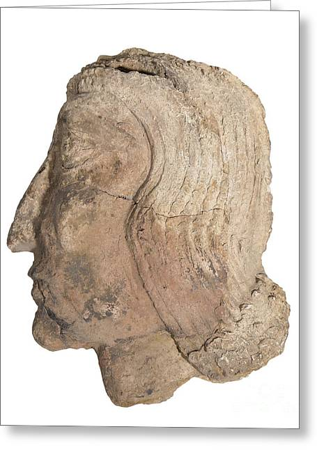 Clay Sculpture Greeting Cards - Mesopotamian Terracotta face Greeting Card by Ilan Amihai
