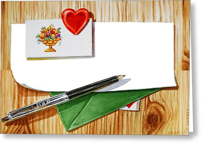 Watercolor Card Greeting Cards - Message From The Heart Greeting Card by Irina Sztukowski