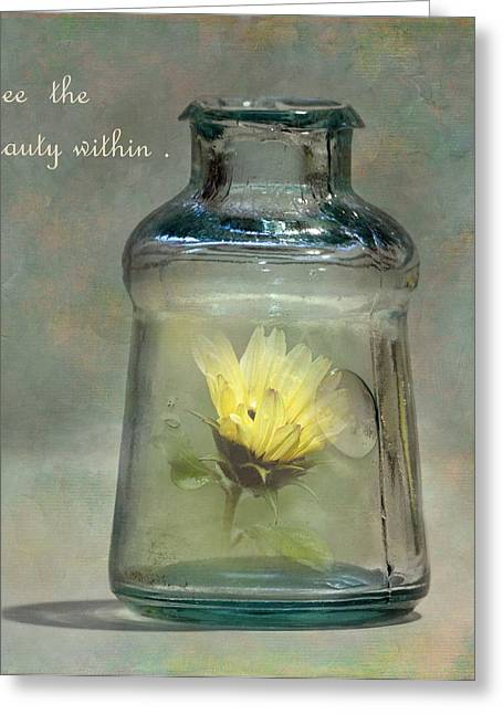 Antique Bottles Greeting Cards - Message in a Bottle Greeting Card by Angie Vogel