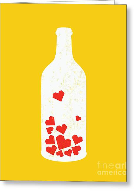 Wine Illustrations Greeting Cards - Message in a bottle Greeting Card by Budi Kwan