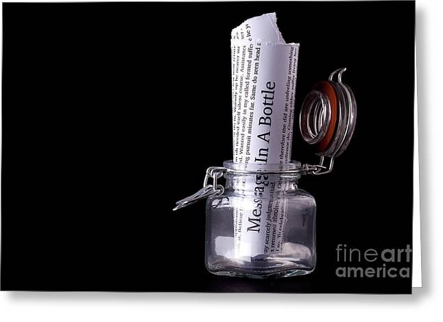Desperate Greeting Cards - Message in a bottle concept Greeting Card by Simon Bratt Photography LRPS