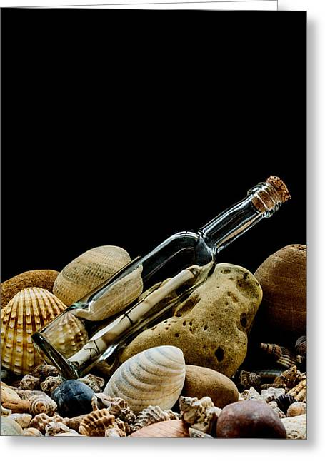 Shell Texture Greeting Cards - Message In A Bottle I Greeting Card by Marco Oliveira