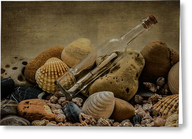 Shell Texture Greeting Cards - Message In A Bottle III Greeting Card by Marco Oliveira