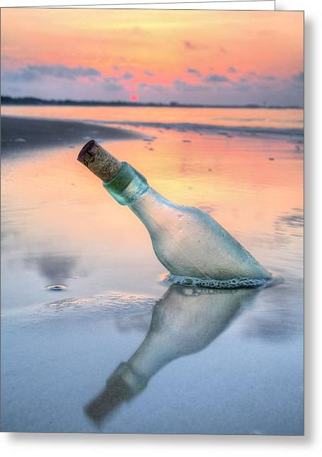 Florida Panhandle Greeting Cards - Message in a Bottle V Greeting Card by JC Findley