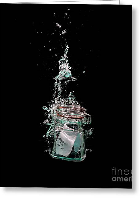 Water Jars Greeting Cards - Message in sinking bottle Greeting Card by Simon Bratt Photography LRPS