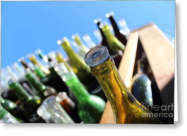 Wine-bottle Glass Greeting Cards - Messages in Bottles Greeting Card by Emily Carrillo