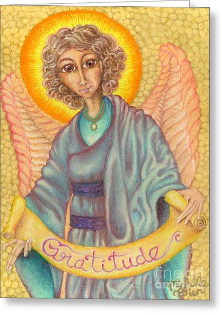 Figural Pastels Greeting Cards - Messenger of Gratitude Greeting Card by Michelle Bien