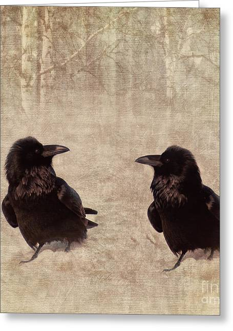 Ravens Greeting Cards - Messenger Greeting Card by Priska Wettstein