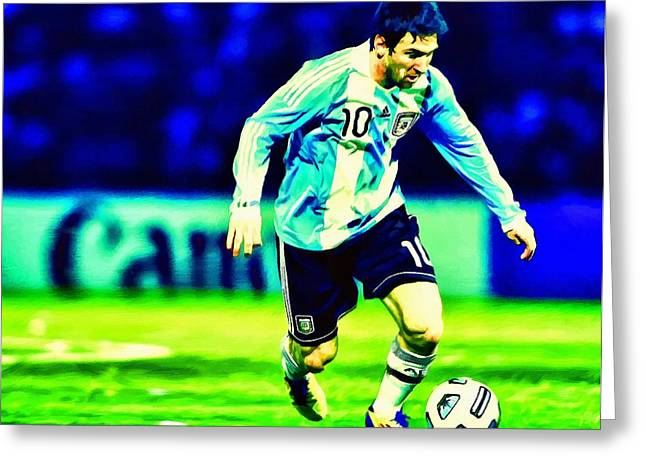Soccer Framed Prints Greeting Cards - Messi Soccer Football Art Landscape Painting  Greeting Card by Andres Ramos
