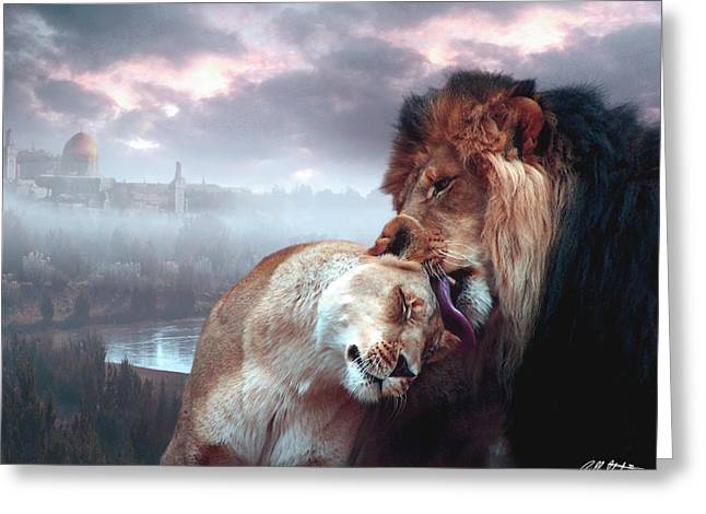 Passion Mixed Media Greeting Cards - Messiah and Israel Greeting Card by Bill Stephens