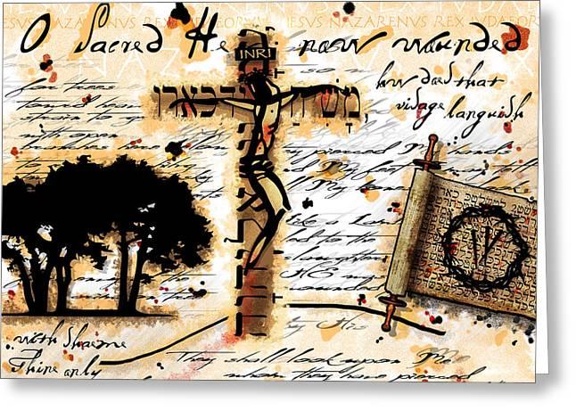 Crucifixion Digital Art Greeting Cards - Messiah Greeting Card by Gary Bodnar