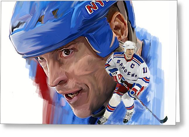 Image Drawings Greeting Cards - Messier  Mark Messier Greeting Card by Iconic Images Art Gallery David Pucciarelli