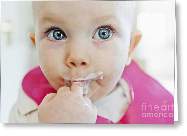 6-12 Months Greeting Cards - Messy Baby Greeting Card by Justin Paget