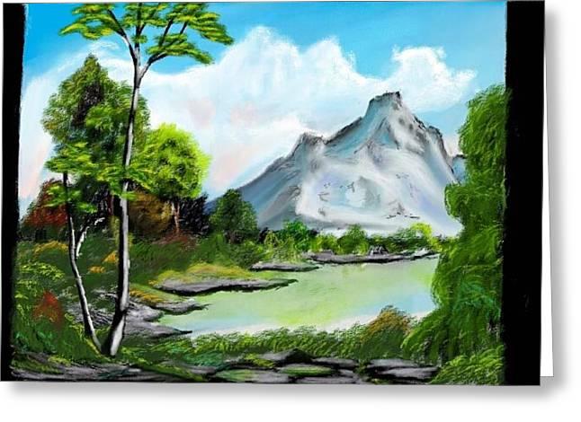 Bob Ross Digital Art Greeting Cards - Messy Greenery Greeting Card by Arjuna Enait