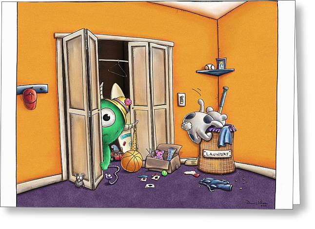 Coat Hanger Greeting Cards - Messy Monsters Greeting Card by Dana Alfonso