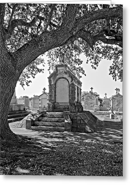 Metairie Greeting Cards - Metairie Cemetery monchrome Greeting Card by Steve Harrington