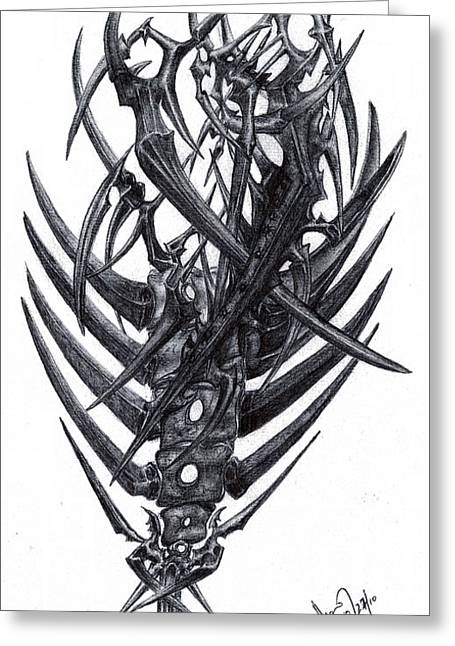Pen Greeting Cards - Metal And Bones Greeting Card by Mike Sangh