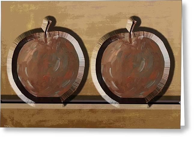 Apple Art Mixed Media Greeting Cards - Metal Apples Greeting Card by Patrick J Murphy