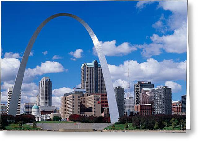 Missouri Photography Greeting Cards - Metal Arch In Front Of Buildings Greeting Card by Panoramic Images