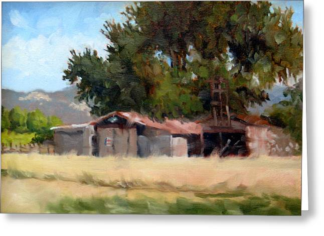 Calistoga Paintings Greeting Cards - Metal Barns with Oak Tree Greeting Card by Char Wood