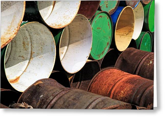 Industrial Background Greeting Cards - Metal Barrels 1 Greeting Card by Rudy Umans