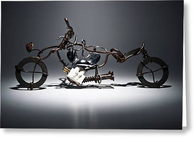 Silver Sculptures Greeting Cards - Metal bike Greeting Card by FL collection