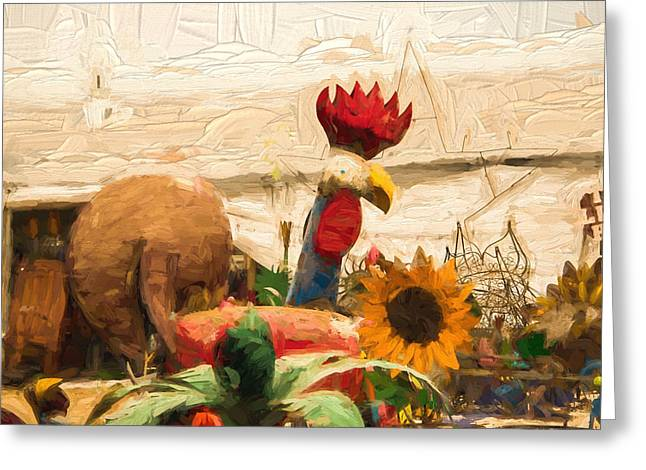 Impressionistic Market Greeting Cards - Metal Chicken Visits The Market Greeting Card by JG Thompson