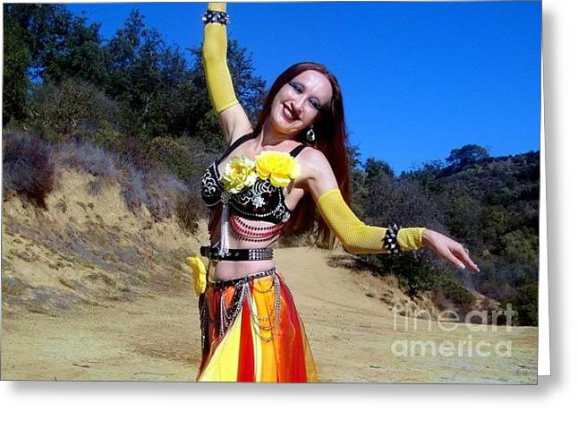 Gypsy Jewelry Greeting Cards - Metal Gypsy fire Sofia belly dance performance Greeting Card by Sofia Gothic Queen of Hell