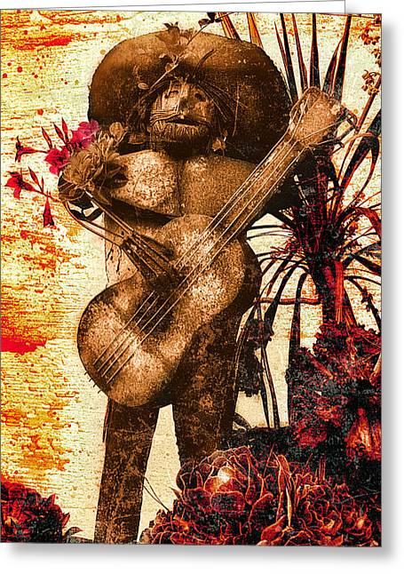 Guitar Sculpture Greeting Cards - Metal Mariachi Guitarist Greeting Card by Ron Regalado