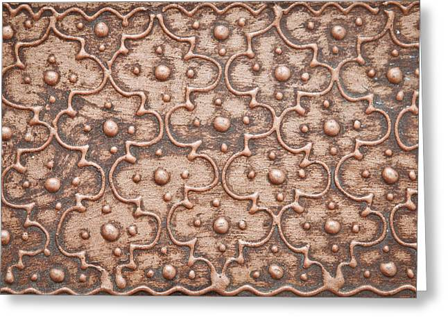 Beige Abstract Greeting Cards - Metal patterned background Greeting Card by Tom Gowanlock