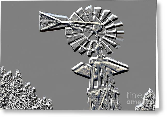 Forgotten Mixed Media Greeting Cards - Metal Print of Old Windmill In Gray Color 3009.03 Greeting Card by M K  Miller