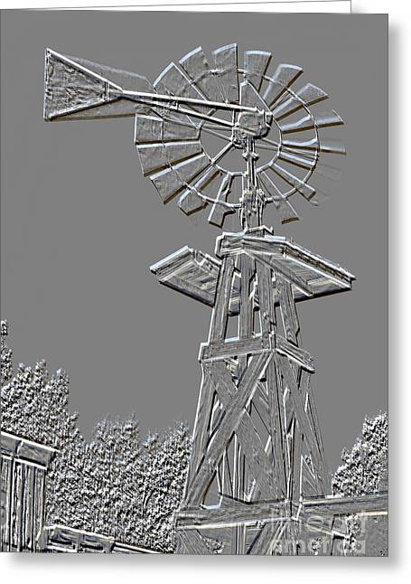 Forgotten Mixed Media Greeting Cards - Metal Print Windmill Antique in Gray Color 3005.03 Greeting Card by M K  Miller