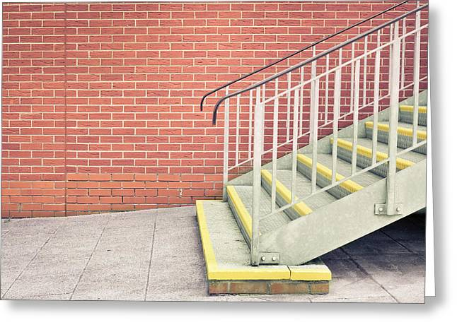 Bannister Greeting Cards - Metal stairs Greeting Card by Tom Gowanlock