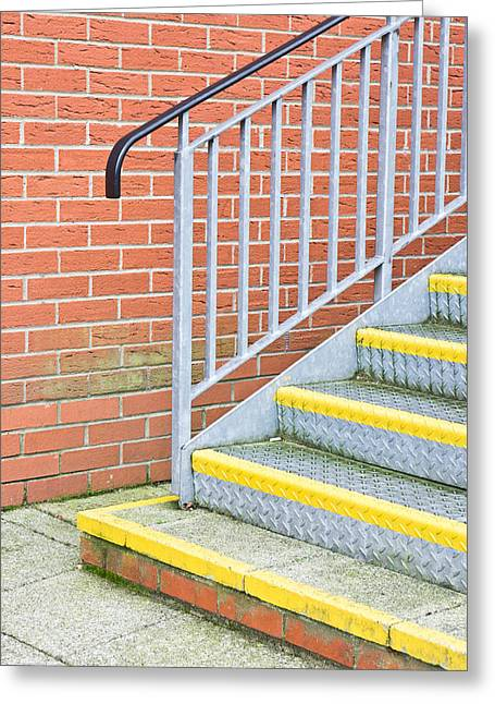 Bannister Greeting Cards - Metal steps Greeting Card by Tom Gowanlock