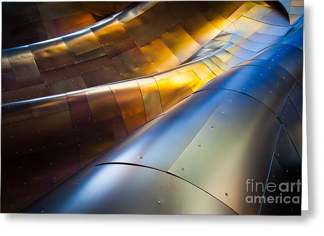 Rivets Greeting Cards - Metal Waves Greeting Card by Inge Johnsson