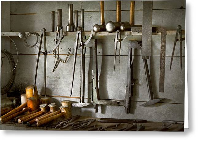 Metal Worker Greeting Cards - Metal Worker - Tools of a tin smith Greeting Card by Mike Savad